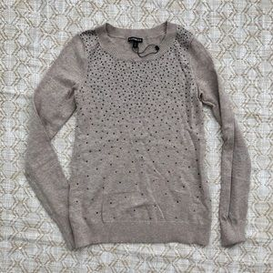 Express beige crystal bling studded sweater XS